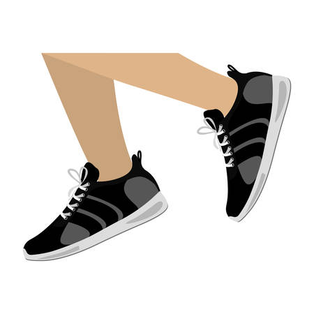 distance: legs with black Fitness sneakers design icon vector illustration Illustration