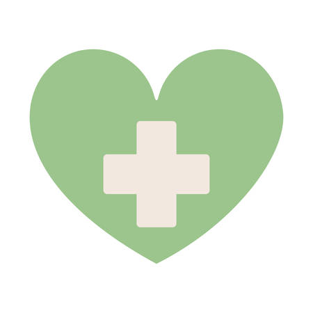green heart with sign cross vector illustration