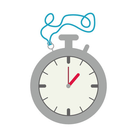 elapsed: Silver Stopwatch Graphic with blue cord vector illustration