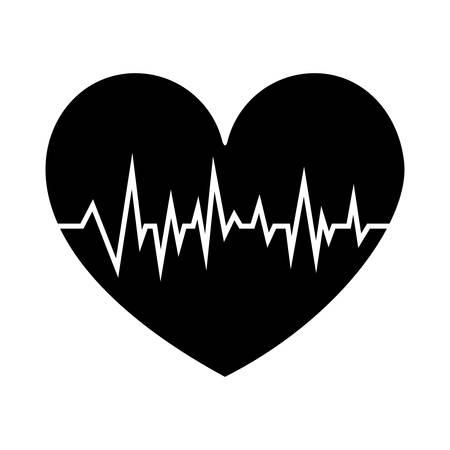 black silhouette shape heart with signs of life vector illustration Ilustração