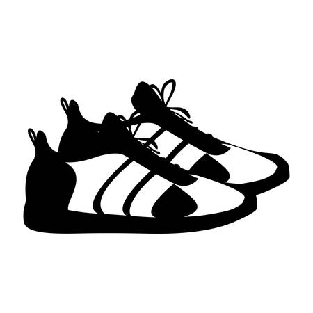 silhouette pair black fitness sneakers design icon vector illustration