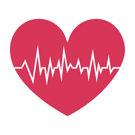 vibration: fushia heart with signs of life vector illustration Illustration