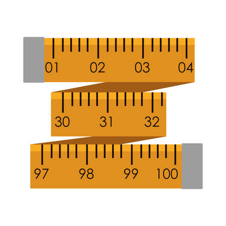 Yellow tape measure in inches vector illustration Illustration