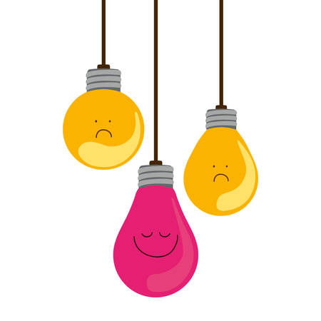 colorful hanging bulbs with emotion face vector illustration Illustration