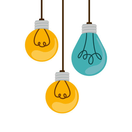 colorful hanging bulbs with filaments vector illustration