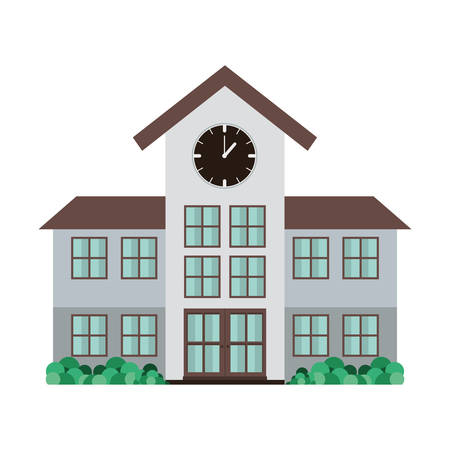 high school structure with clock vector illustration 일러스트