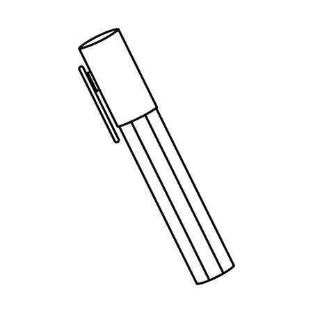 highlighter pen: silhouette highlighter pen with lid icon vector illustration