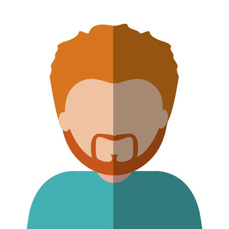 half body man half brunette and caucasian with red hair . Vector illustration