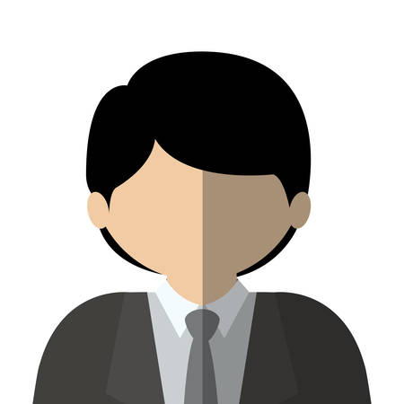 bussinesman: half body man half brunette and caucasian with neck tie vector illustration Illustration