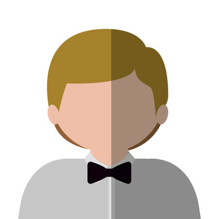 medium body: half body man half brunette and caucasian with blond hair. Vector illustration