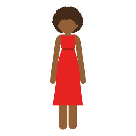 curly hair: brunette woman with dress and curly hair vector illustration