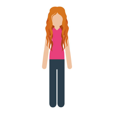 causal: woman with causal wear and red hair . Vector illustration