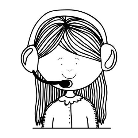 handsfree phones: contour teenager customer service icon vector illustration Illustration