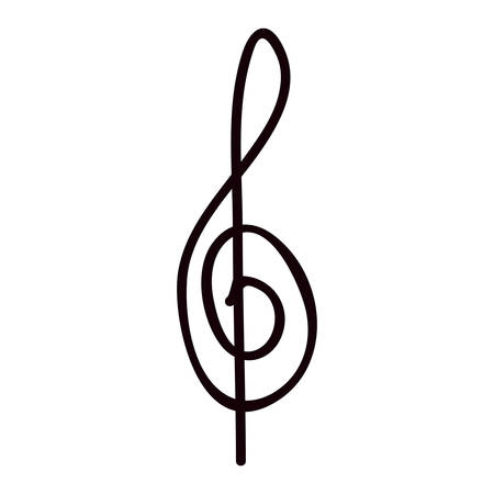 crotchet: silhouette monochrome with sign music treble clef vector illustration