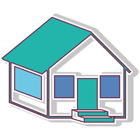 perpective: colorful contour side house with shadow vector illustration