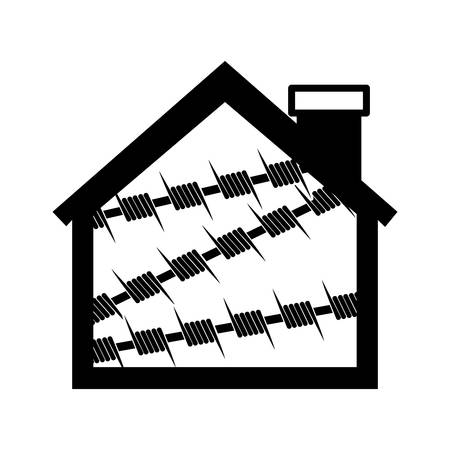 chainlink: silhouette house one floor with metallic barbed wire icon vector illustration