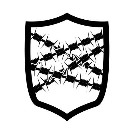 barbed: emblem with metallic barbed wire icon vector illustration