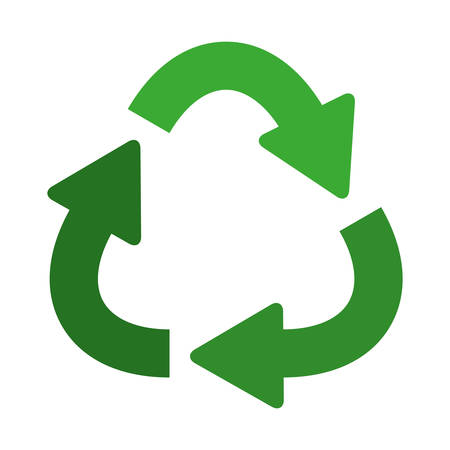 green separate recycling symbol shape with arrows vector illustration