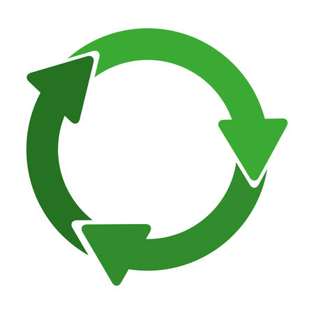 recycling symbol: green circular recycling symbol shape with arrows vector illustration
