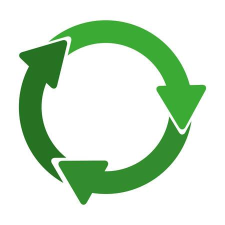 verde simbolo del riciclaggio circolare con illustrazione vettoriale frecce