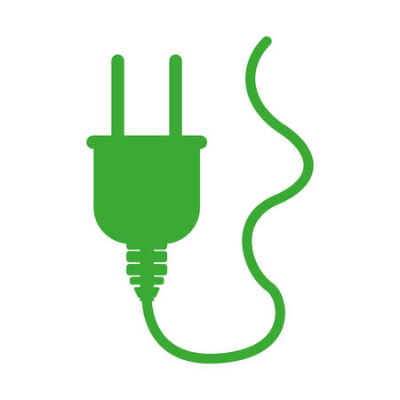 plug adapter: green silhouette plug connector with cord vector illustration Illustration