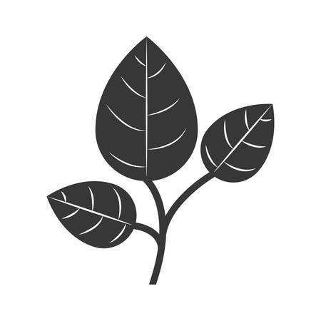 silhouette branch with multiple leaves vector illustration
