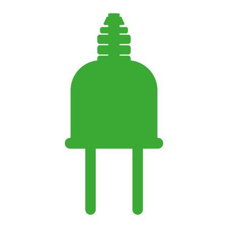green silhouette head plug connector vector illustration Illustration