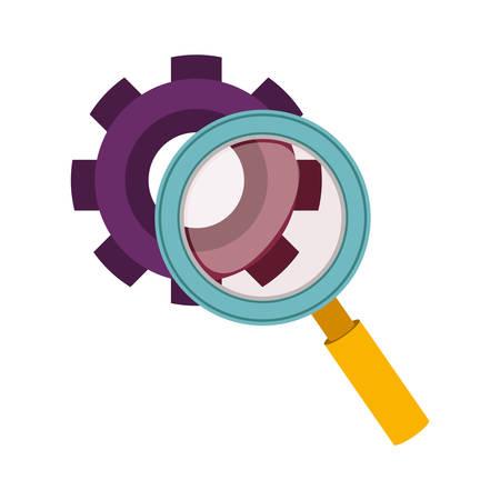 technics: purple silhouette gear wheel and magnifying glass vector illustration Illustration