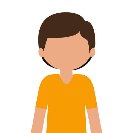 silhouette half body child with t-shirt and shorts without face vector illustration