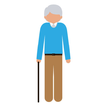 gerontology: silhouette elder with walking stick without face vector illustration Illustration