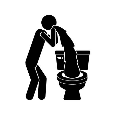vomiting: monochrome silhouette with person vomiting in the toilet vector illustration