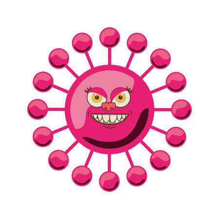 silhouette magenta with bacteria cartoon shape vector illustration Illustration