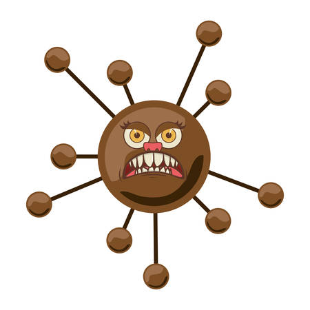silhouette brown with bacteria cartoon shape vector illustration