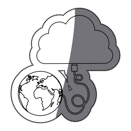 Planet and cloud computing icon. Storage technology and virtual theme. Isolated design. Vector illustration