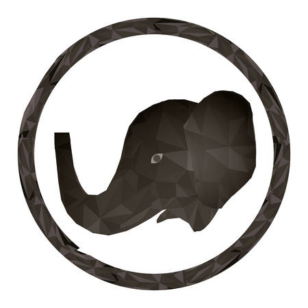 Polygonal elephant icon. Animal nature life and fauna theme. Isolated design. Vector illustration