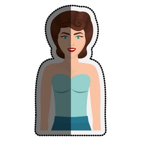 Retro woman cartoon icon. Girl vintage beautiful classic and fashion theme. Isolated design. Vector illustration