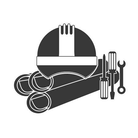 Helmet screwdriver and wrench icon. Construction tool repair work and restoration theme. Isolated design. Vector illustration