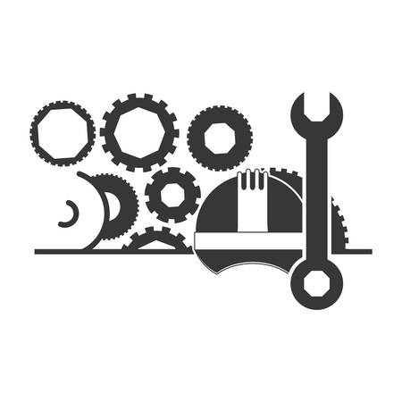 restoration: Helmet and wrench icon. Construction tool repair work and restoration theme. Isolated design. Vector illustration Illustration