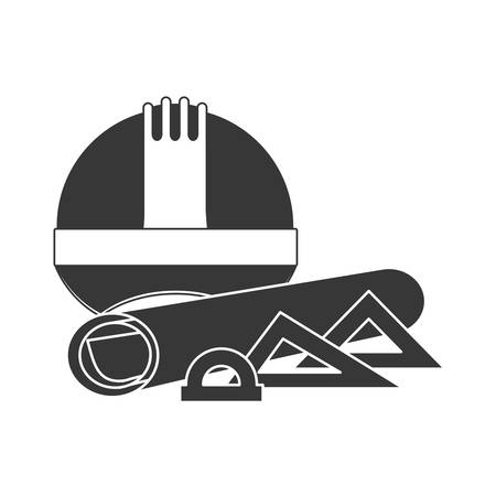 Helmet and ruler icon. Construction tool repair work and restoration theme. Isolated design. Vector illustration
