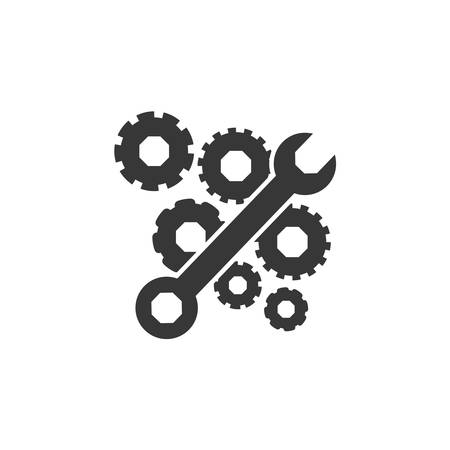 restoration: wrench and gears icon. Construction tool repair work and restoration theme. Isolated design. Vector illustration