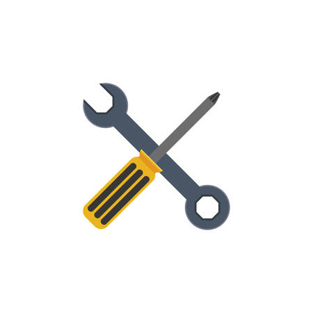 restoration: Screwdriver and wrench icon. Construction tool repair work and restoration theme. Isolated design. Vector illustration