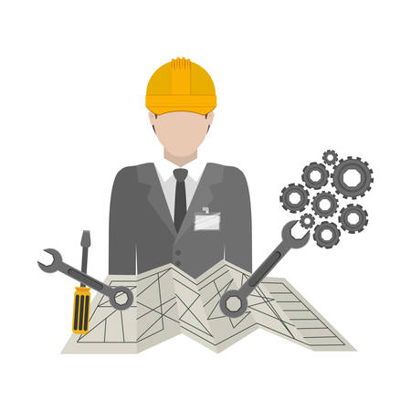 restoration: Architect icon. Construction tool repair work and restoration theme. Isolated design. Vector illustration