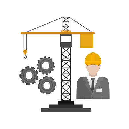 restoration: Crane and architect icon. Construction tool repair work and restoration theme. Isolated design. Vector illustration