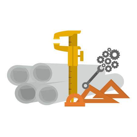 restoration: Plans and ruler icon. Construction tool repair work and restoration theme. Isolated design. Vector illustration
