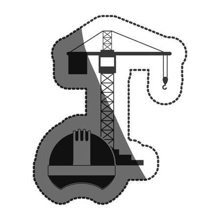 restoration: Helmet and crane icon. Construction tool repair work and restoration theme. Isolated design. Vector illustration Illustration
