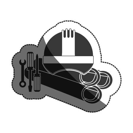 restoration: Helmet screwdriver and wrench icon. Construction tool repair work and restoration theme. Isolated design. Vector illustration