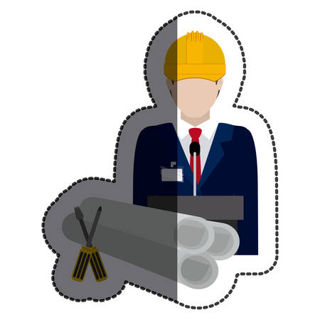Architect icon. Construction tool repair work and restoration theme. Isolated design. Vector illustration