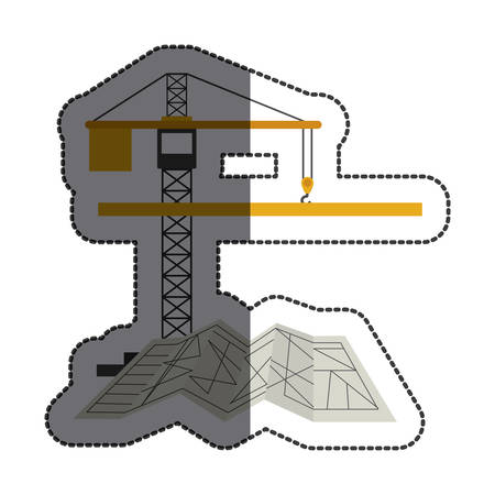 restoration: Crane icon. Construction tool repair work and restoration theme. Isolated design. Vector illustration