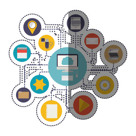 Computer and cloud computing icon. Storage media multimedia and technology theme. Isolated design. Vector illustration