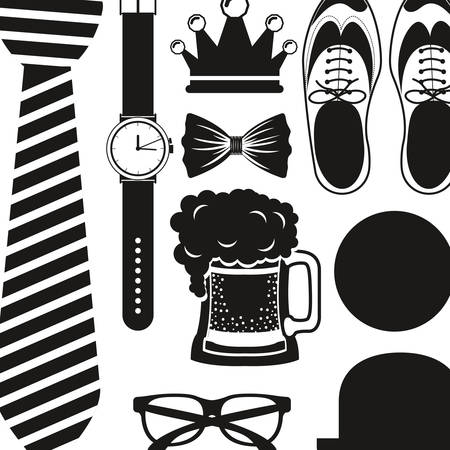 beer necktie: Shoes hat glasses necktie watch and beer icon. Cloth fashion style wear and shop theme. Isolated design. Vector illustration
